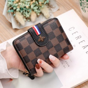 Check Printed Bug Patched Zipper Closure Handheld Wallet - Brown