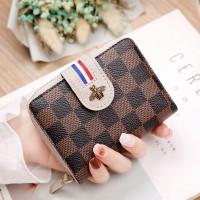 Check Printed Bug Patched Zipper Closure Handheld Wallet - Gray