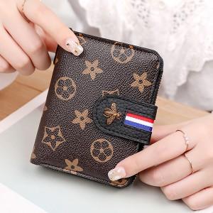 Flora Printed Bug Patched Zipper Closure Handheld Wallet - Black