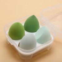 Four Pieces Skin Toning Makeup Puffs - Green