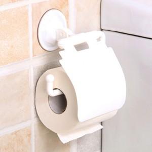 Toilet Wall Sucker Paper Holder - White