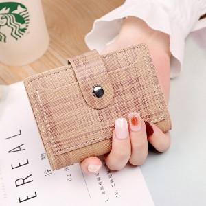 Check Printed Button Closure Handheld Money Wallet - Khaki