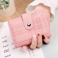 Check Printed Button Closure Handheld Money Wallet - Pink
