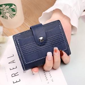 Check Printed Button Closure Handheld Money Wallet - Dark Blue