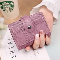 Check Printed Button Closure Handheld Money Wallet - Purple