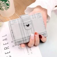Check Printed Button Closure Handheld Money Wallet - White