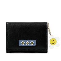Floral Patched Zipper Smiley Chain Handheld Cute Wallet - Black