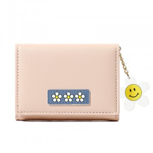Floral Patched Zipper Smiley Chain Handheld Cute Wallet - Pink