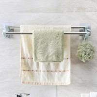 Double Pole Wall Attachable Towel Cloth Hanger - Silver