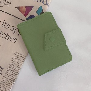 Button Closure Synthetic Leather Handheld Money Wallet - Dark Green