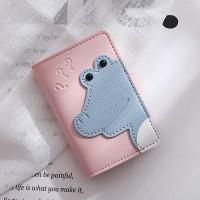 Button Closure Alligator Handheld Card Wallet - Pink