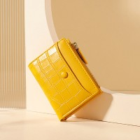 Animal Textured Shiny Zipper Closure Handheld Money Wallet - Yellow