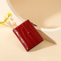 Animal Textured Shiny Zipper Closure Handheld Money Wallet - Red
