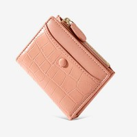 Animal Textured Shiny Zipper Closure Handheld Money Wallet - Pink
