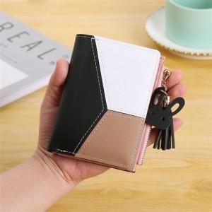 Contrast Zipper Closure Handheld Money Wallet - Multicolor