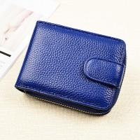Synthetic Leather Zipper Closure Plain Handheld Wallet - Blue