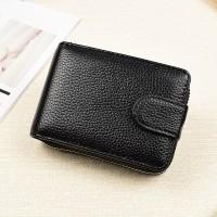 Synthetic Leather Zipper Closure Plain Handheld Wallet - Black