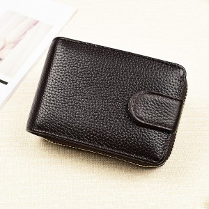Synthetic Leather Zipper Closure Plain Handheld Wallet - Coffee
