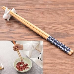 Floral Printed Bamboo Wooden Chopsticks - Brown