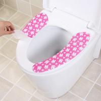 Rabbit Print Stick Up Cartoon Washable Toilet Mat - Pink