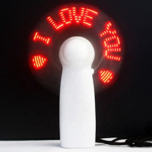 Led Flashing Usb Rechargeable Fan - White Red