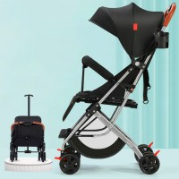 High Quality Canvas Sun Protective Hooded Baby Stroller - Black