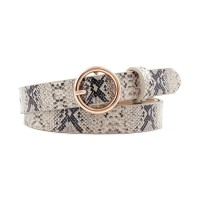 Elegant Leopard Design Closure Round Buckle Women Leather Belts