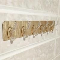 Multi Purpose 6 Row Strong Glue Wall Hanger - Golden