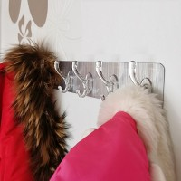 Multi Purpose 6 Row Strong Glue Wall Hanger - Silver