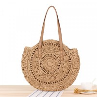 Hollow Round Style Vintage Style Shoulder Straw Bags - Brown