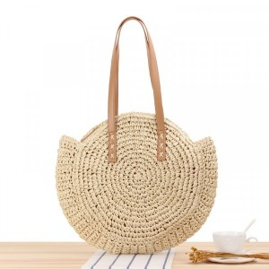 Round Style Contrast Vintage Style Shoulder Straw Bags - Beige
