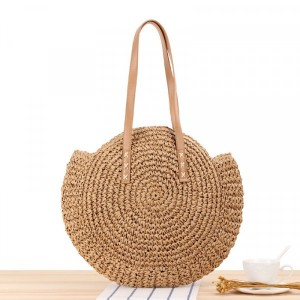 Round Style Contrast Vintage Style Shoulder Straw Bags - Brown
