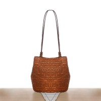 Zipper Closure Magnetic Button Straw Beach Style Shoulder Bags - Brown