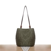 Zipper Closure Magnetic Button Straw Beach Style Shoulder Bags - Green