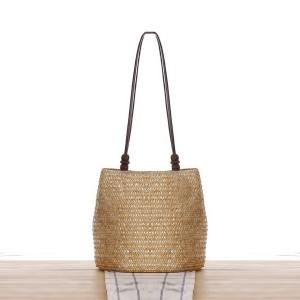 Zipper Closure Magnetic Button Straw Beach Style Shoulder Bags - Beige