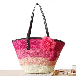 Floral Patched Trio Stripe Straw Beach Style Shoulder Bags - Hot Pink