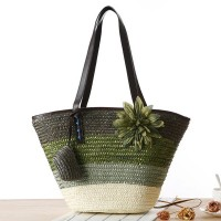 Floral Patched Trio Stripe Straw Beach Style Shoulder Bags - Dark Green