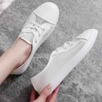 Mesh Lace Closure Flat Sole Sportswear Sneakers - White