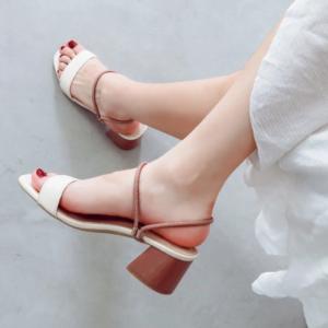 Thick Heel Sober Fashion Wear Sandals - White