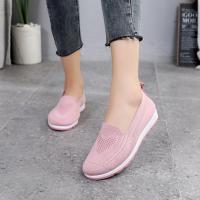 Mesh Fabric Slip Over Flat Sneakers - Pink