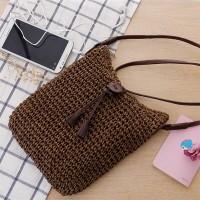 Tassel Straw Material Casual Straight Elegant Sober Shoulder Bags - Coffee
