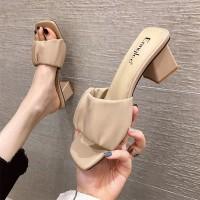 Elegant Design Square Heel Open Toe Casual Wear Women Sandal - Khaki