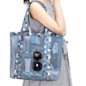 Floral Printed See Through Wide Space Shoulder Bags - Blue