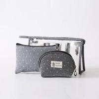 Three Pieces Zipper Closure Traveller Cosmetics Bags Set - Gray