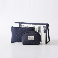 Three Pieces Zipper Closure Traveller Cosmetics Bags Set - Blue