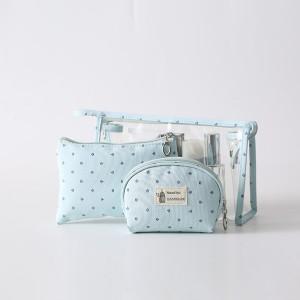 Three Pieces Zipper Closure Traveller Cosmetics Bags Set - Light Blue