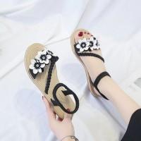 Floral Patched Elastic Closure Flat Sole Sandals - Black