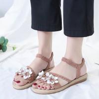 Floral Patched Elastic Closure Flat Sole Sandals - Pink