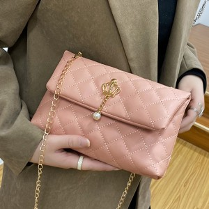 Pearl Patchwork Chain Strap Luxury Messenger Bags - Pink
