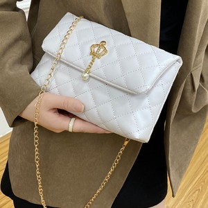 Pearl Patchwork Chain Strap Luxury Messenger Bags - White